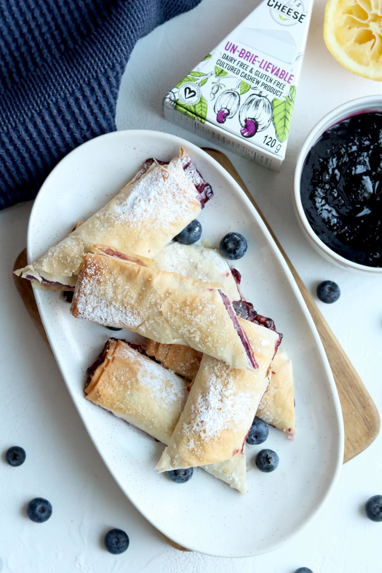 Brie Phyllo Rolls with Blueberry and Balsamic Compote