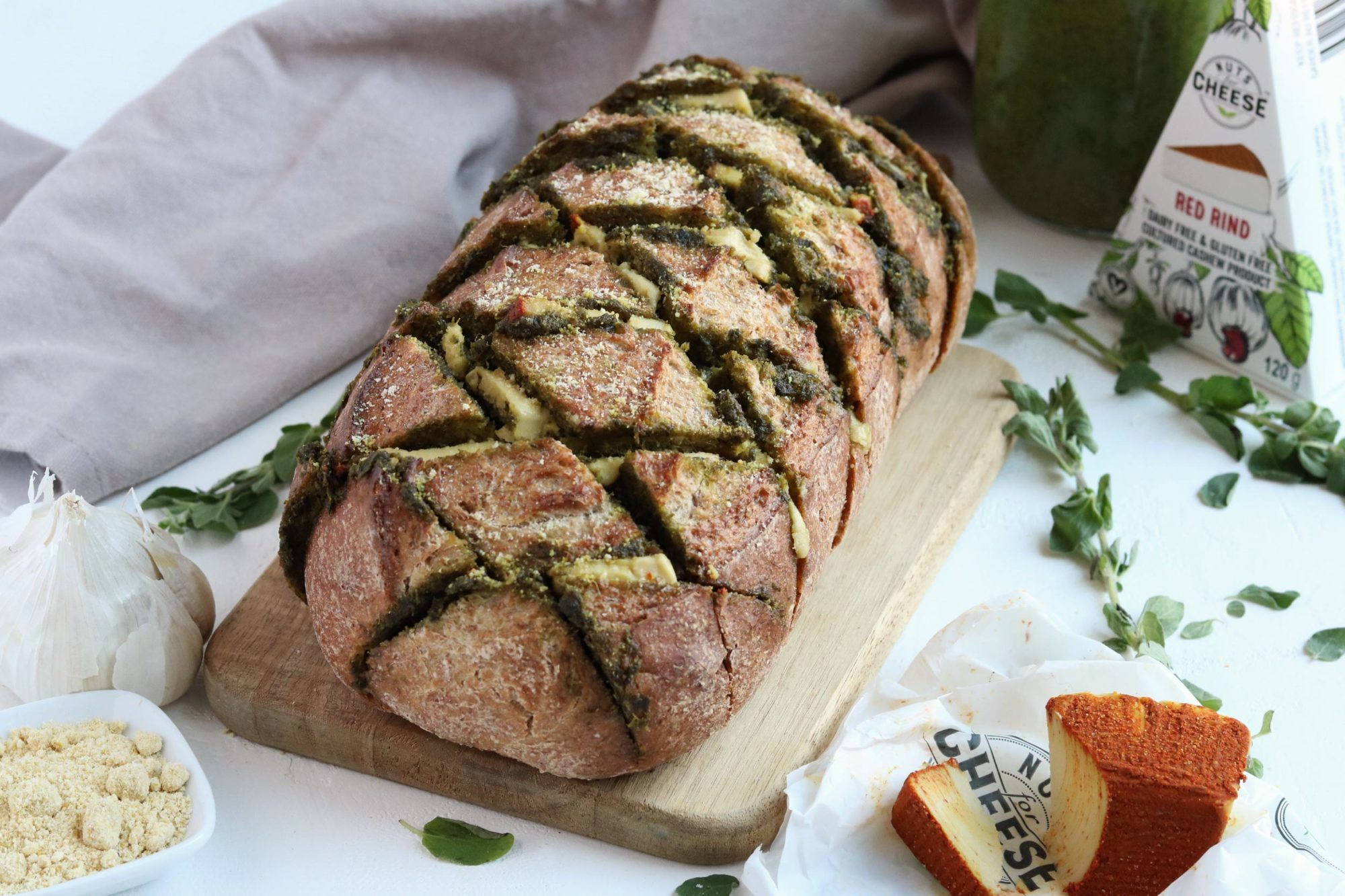 Nuts For Cheese Red Rind and Pesto Pull Apart Bread