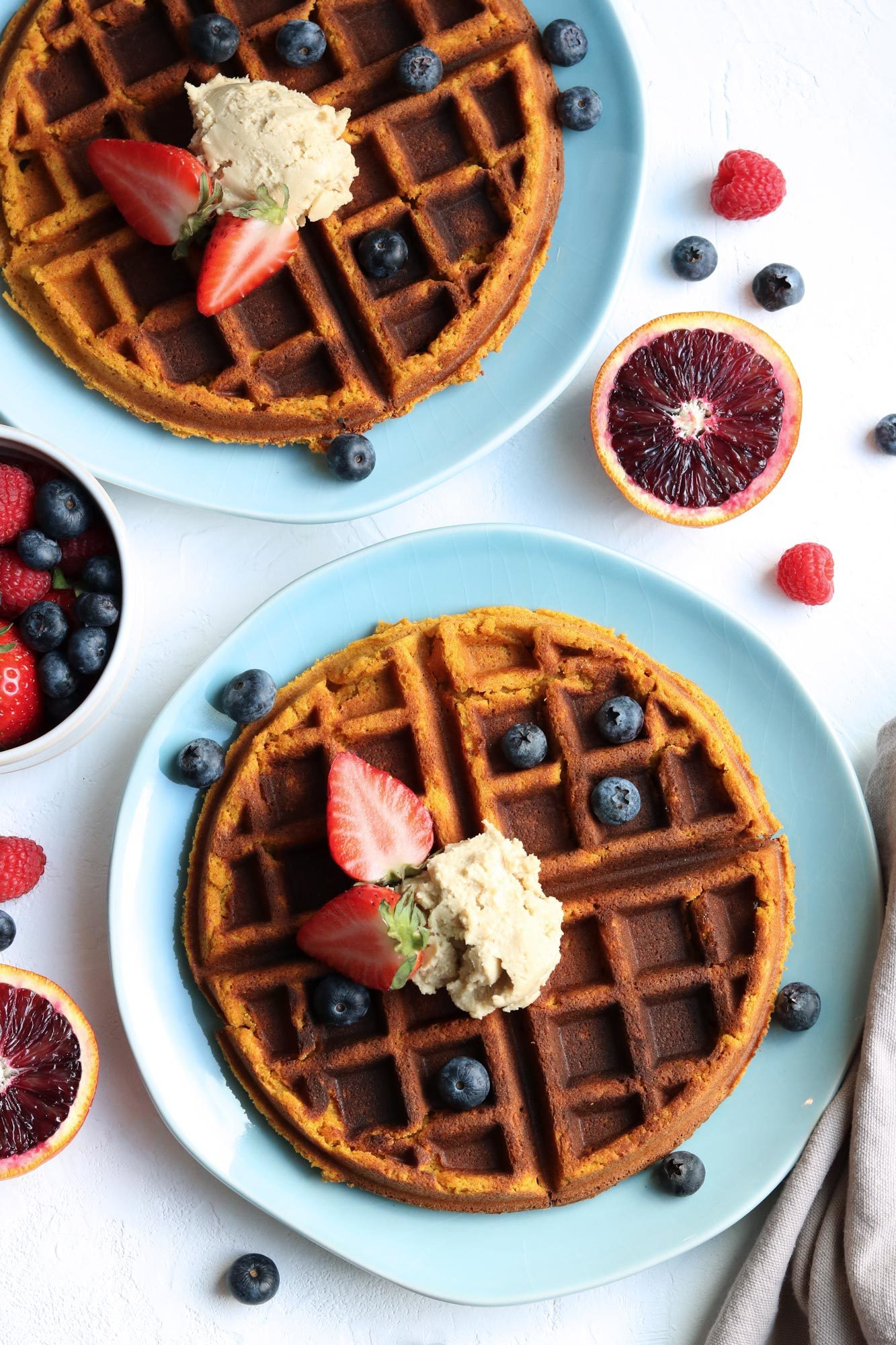 Grain Free Sweet Potato Waffles with Nuts For Cheese Cream Cheese