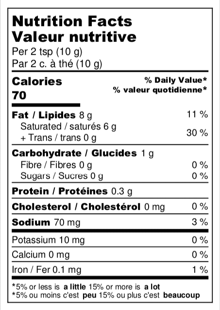 Nutrition Facts_Nuts For Butter_Herb and Garlic